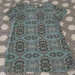 H&M Turquoise Artsy Print Shift Dress